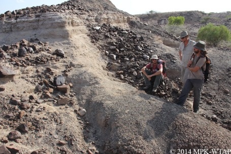 2014_WTAP geologist Xavier sampling with Mathieu Schuster and Alexis Nutz