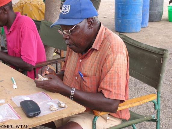 Kamoya Kimeu labelling fossils