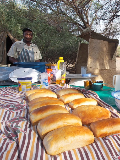 Chef B.K. baking fresh bread at the camp kitchen