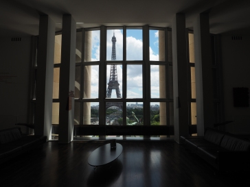 Eiffel Tower seen from inside the Musee de l'Homme