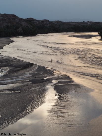 Crossing the Turkwel River in the evening