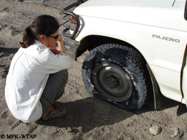 Sonia contemplating a destroyed tyre