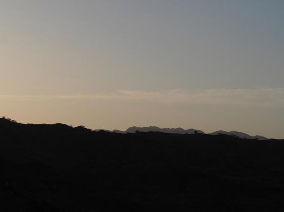 Distant ridges in silhouette