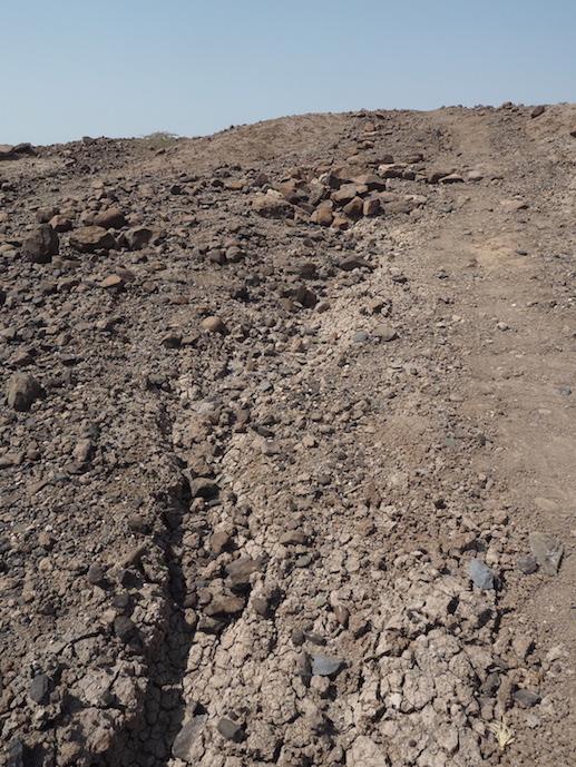 Phonolite lithics (blue) eroding from sediments near Kaitio