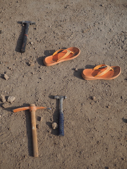 The flip-flops really tie the excavation trench together