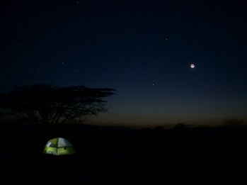 The WTAP flycamp at night