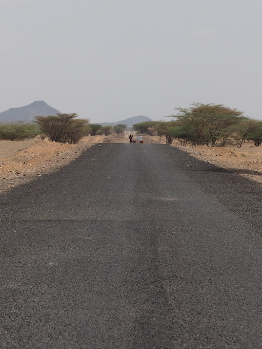 Fresh tarmac on the road north, into the field from Lodwar