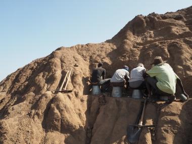 Excavation underway on a steep hillside