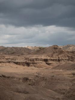 Dramatic skies over Lomekwi geology