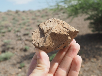 A small Acheulean core used to produce flakes