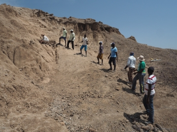 Preparing the trench to re-open the excavation