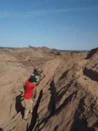 Digging underway in a difficult hillside location